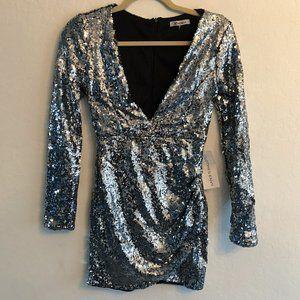 NWT Xtaren Silver Sequin Long Sleeve Mini Dress